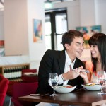 couple dating at a restaurant